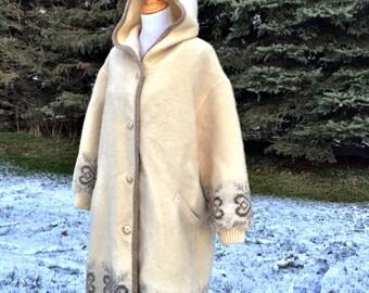 SALE Vintage 1970s Sweater Coat/ Boho Sweater Coat/ Fair Isle Coat/ Icelandic Wool Coat/Hoodie Sweater