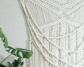 Large Macrame Curtain- Macrame Wall Hanging~ Bohemian Furniture~ Boho Wall Decor~ Wedding Decor~ White Wall Accent- Bohemian Bedroom Decor
