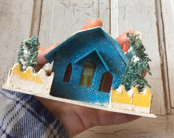 Vintage Mica Glitter Putz House,Blue and Red Barn Roof Glitter House,Christmas Village,Vintage Christmas,Christmas Mantle,Christmas Decor