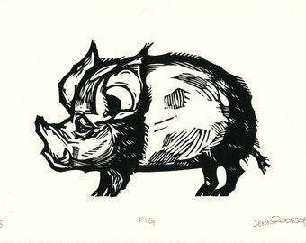 """Hand-pulled Linocut - """"Pig"""""""