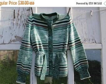 40% OFF- Vintage Green Cardigan-Carsom Pirie Scott-Acrylic-Striped-Button Up
