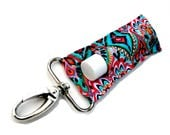 LippyClip™ Lip Balm Holder for Chapstick, Burt's Bees, etc. |  Clip-On Keychain | Aqua and Pink Bohemian Crown Jewels