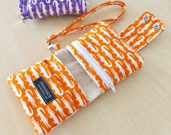 Retro Croco Orange Cube Wallet ---------- Double Snaps, 5 Pockets, Wrist Strap
