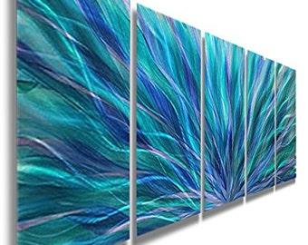 Modern Metal Wall Art Painting in Blue, Teal & Purple, Abstract Wall Sculpture, Home Decor - Blue Aurora by Artist Jon Allen