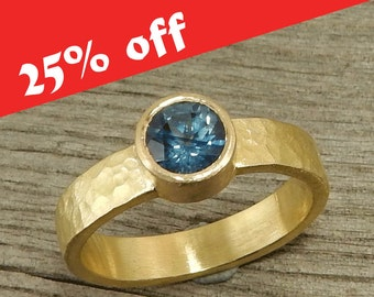 CLEARANCE - Sapphire Ring, 18k Yellow Gold, Fair Trade, Recycled, Wedding or Engagement, September Birthstone, Ready to ship - size 7.5