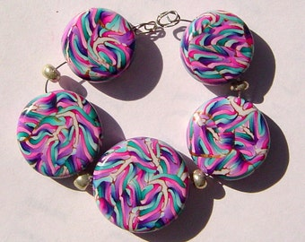 Ribbons Of Color Artisan Polymer Clay Bead Set with Focal and 4 Beads