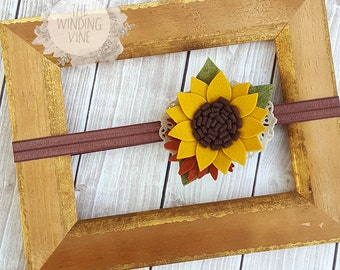 Fall Felt Sunflower Headband/Clip/Barrette for Baby, Child, Teen, or Adult