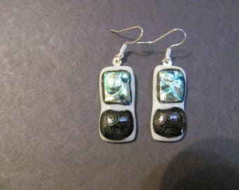Fused blue dots and purple and black dichroic glass on white glass earrings