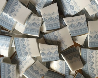 Mosaic Tiles Mix Broken Plate Art Hand Cut Pieces Supply Vintage Thin China Royal Doulton Blue White Lace Pattern 100