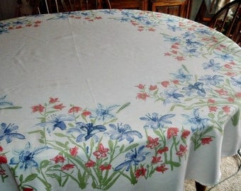 Vintage Tablecloth Coral Peach Blue Floral 68 inches Round