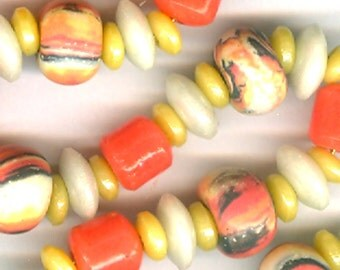 Handmade Bead Set Bead Combo Ceramic and Vintage Prosser Glass Marbled Coral Orange Yellow White Heishi Barrels Rounds Colorful Fun Happy