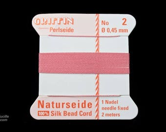 Pink Griffin Silk Size 2 Needle End Bead Cord #CGG115