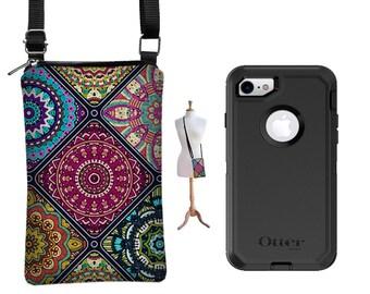 cell phone case iphone 7 plus wallet case, iphone 6 plus cell phone purse fits Otterbox, ZTE Axon 7 case, crossbody bag, boho mandala RTS