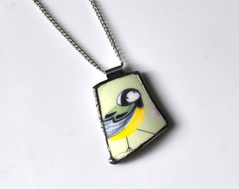 Broken China Jewelry Pendant - Green and Yellow Bird