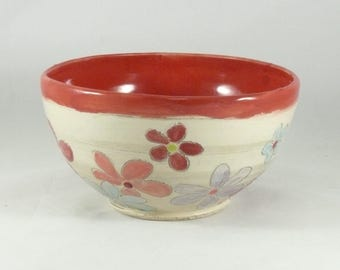 Flower Power Ceramic Bowl. Salad Bowl, Soup Bowl, Cereal Bowl, Key Bowl ceramic dinnerware  pottery and ceramics, Kitchen serving Dish 738