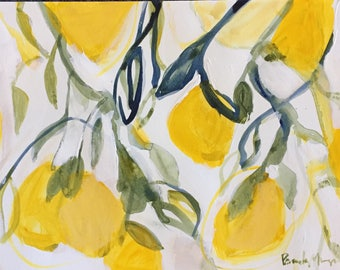 "lemon painting on watercolor paper 9x12"" lemon tree yellow art abstract yellow painting"