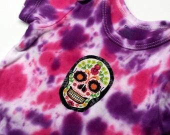 Tie Dye Sugar Skull Onesie-Baby Girl-12 month-Baby Gift