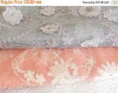 CLEARANCE Lavender and pink fabrics,  embroidered fabrics, beaded fabrics,floral fabrics,  see listing for sizes