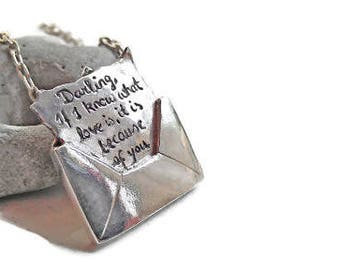 LOVE MESSAGE in an ENVELOPE Personalized your choice of words Necklace - Love Letter - Love Story Jewelry - say it with love,romanza jewelry