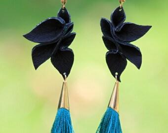 Silk + Leather Petals Statement Earrings +  green shantung and black lambskin - long dangle, textured jewelry - OOAK