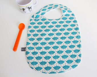 Baby bib - peacock - feathers - turquoise - blue - pink - white - trees - bamboo - baby gift - baby shower - baby meal - baby - birthday