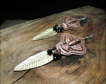 E1525 Birds and black Onyx Brass Copper Sterling earrings