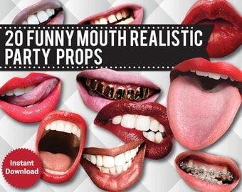 20 Lips Photo Booth Props, Funny Mouth Realistic Party Props, Printable Props,  Lips, Printable Wedding props