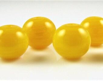 Mini Transluccent Yellow Hollow Lampwork Glass Bead Set (6)
