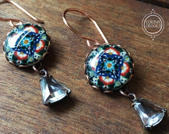 Handmade Earrings, Mexican jewelry, Decorative tile design earring, Drop, Dangle earrings, Chandelier earrings, Southwestern style