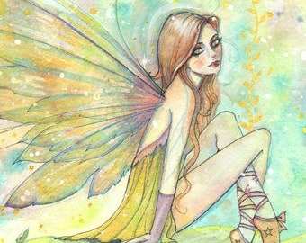 Fairy Art - Weeds of Gold - Original Watercolor and Mixed Media Painting by Molly Harrison - Fantasy, Fairy, Fairies, Faery, Artwork