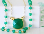 20% off Sale Green Onyx Bohemian Layered Rosary Necklace