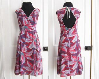 Vintage 70's Open Back Dress Sun Dress Summer Size Small Medium Floral Print Tropical Beach Thin Cotton Wrap Style Halter