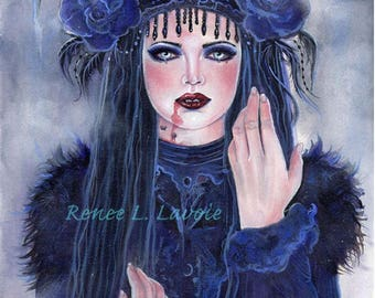 Aceo print Victorian lace  gothic vampire woman fantasy art by Renee Lavoie