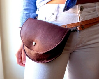 Leather Fanny Pack- The Ester Fannypack in Soft Burgundy Leather by Awl Snap