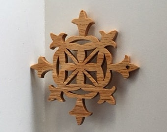 Snowflake Ornaments - Christmas Woodcuts - Set of 4 Wooden Decorations