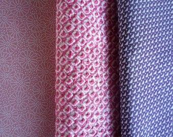Pink Shibori Edo Komon Pink Purple, Vintage Silk Japanese Kimono Set of 3, Craft Supply Bag, Doll making, Quilting etc.