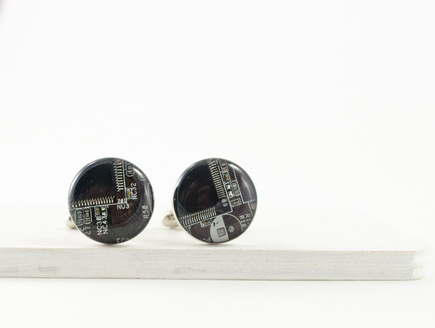Recycled Circuit Board Cufflinks Brown Computer Gift Mens Geeky Cuff Links