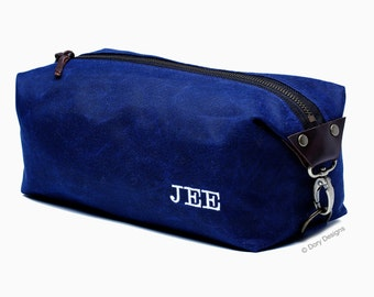 Personalized Men's Dopp Kit, Men's Toiletry Bag, Gift for Men, Travel Bag with Inside Pocket - Water Resistant Lining, Waxed Canvas-Handmade