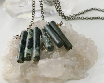 Long Fan Necklace, Long Onyx Pendant, Gifts for Her, Gifts for Him, Gifts for They/Them