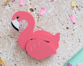 Flamingo Pool Float Brooch - flamingo brooch - flamingo gift - flamingo jewellery - palm springs - palm springs inspired - palm springs gift