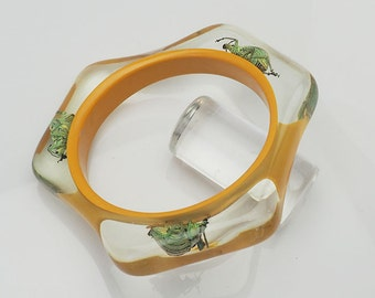 Funky yellow lucite triangle bracelet with real beetles