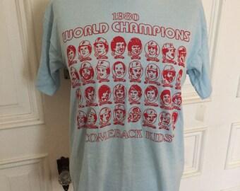 Vintage 1980s philadelphia phillies comeback kids deadstock t shirt