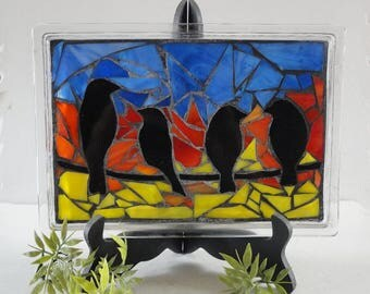 "Stained Glass Mosaic, Glass Vanity Tray, Home Decor, Sculpture, Birds, Spring, Sunrise, Sunset, Original Art, Nature Art, ""Morning Bird Song"
