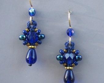 Small Blue Bead Earrings, Blue Macrame Earrings, Cobalt Blue, macrame beadwork, blue earrings, beaded earrings, bead jewelry, dark blue