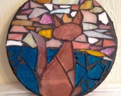Sunset Kitty Small Stained Glass Mosaic