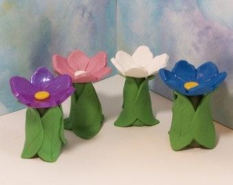Miniature Flower Bird bath, terrarium, fairy or gnome gardens: polymer clay