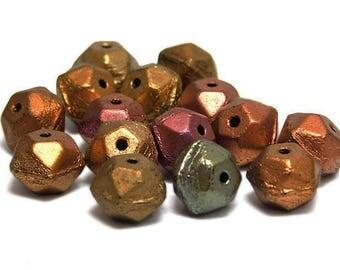 Czech Glass Beads - English Cut Beads - Round Beads - Picasso Beads - Round Beads - Bronze Iris - Metallic - 15pcs (930)