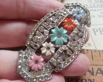 Repurpose Jewelry ... Shabby Brooch Rhinestones and Big Glass Pearls ... Jewelry Supply, Steampunk