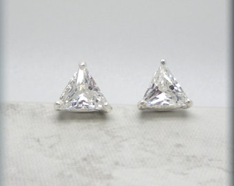 Trillion Cubic Zirconia Earrings, Triangle Earrings, Faux Diamond Earrings, Stud Earrings, Post, CZ Jewelry, Minimalist, Sparkly SE673
