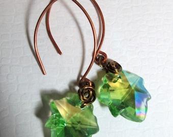 Green Leaf Crystal Earrngs